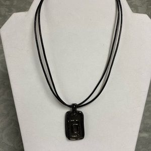 Chicos black leather cord necklace
